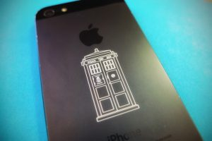 Laser-etched Tardis iPhone